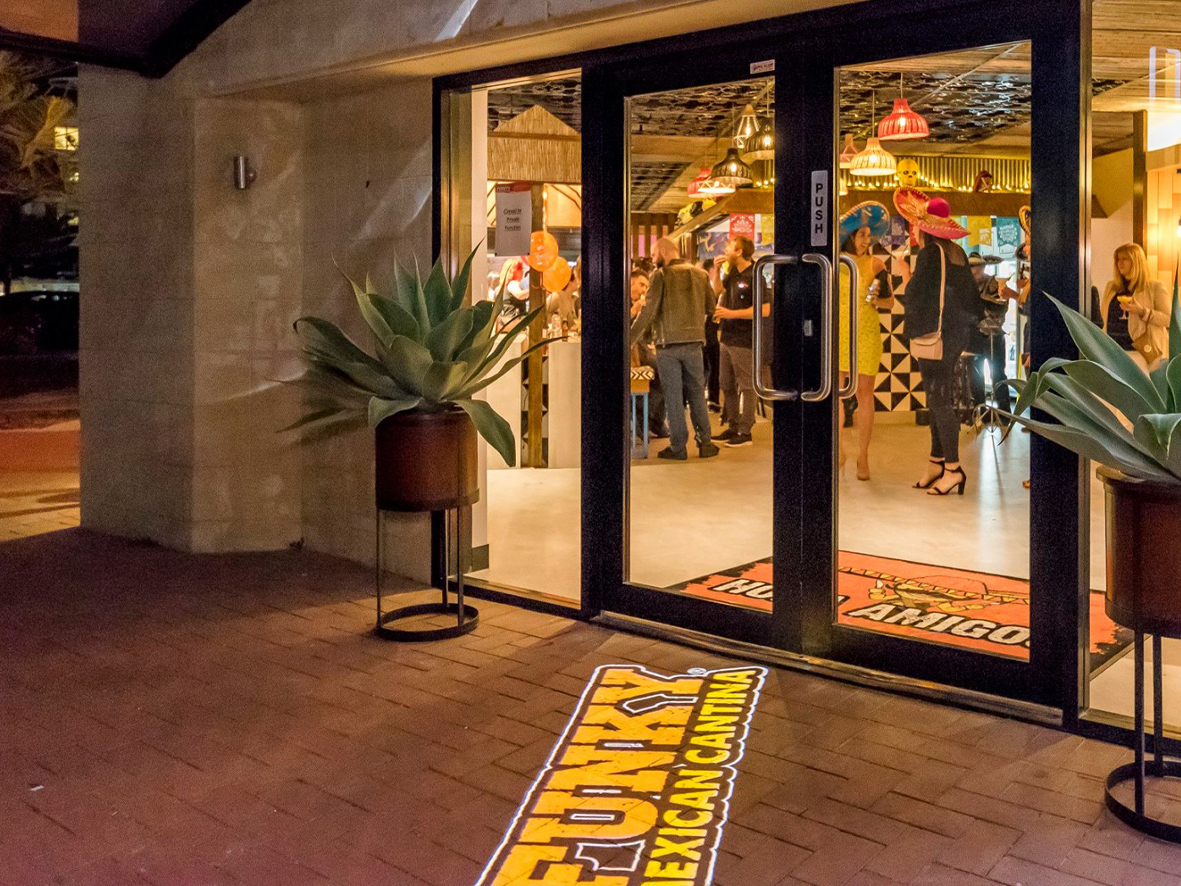 Funky Mexican Cantina full colour gobo projection onto footpath