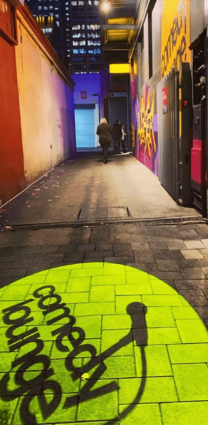 Comedy lounge Perth gobo footpath projection