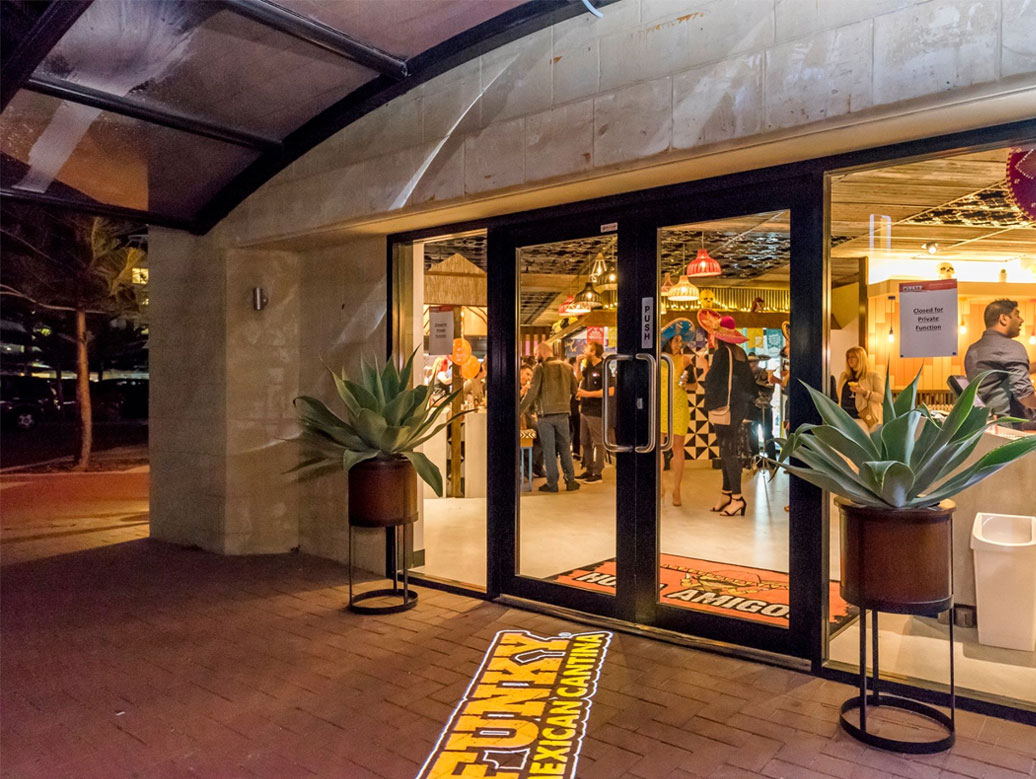 Funky Mexican Cantina gobo projection onto restaurant entrance floor