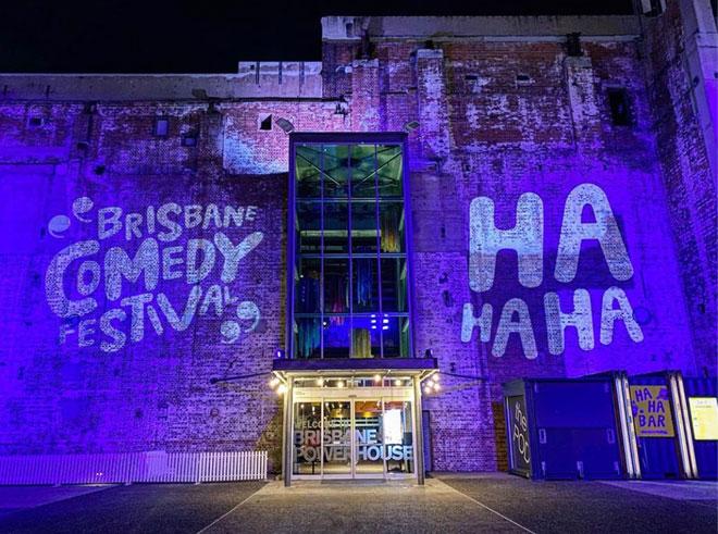 Brisbane Comedy Festival building façade projection