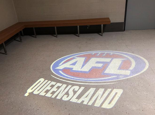AFL Queensland gobo projection onto change room floor