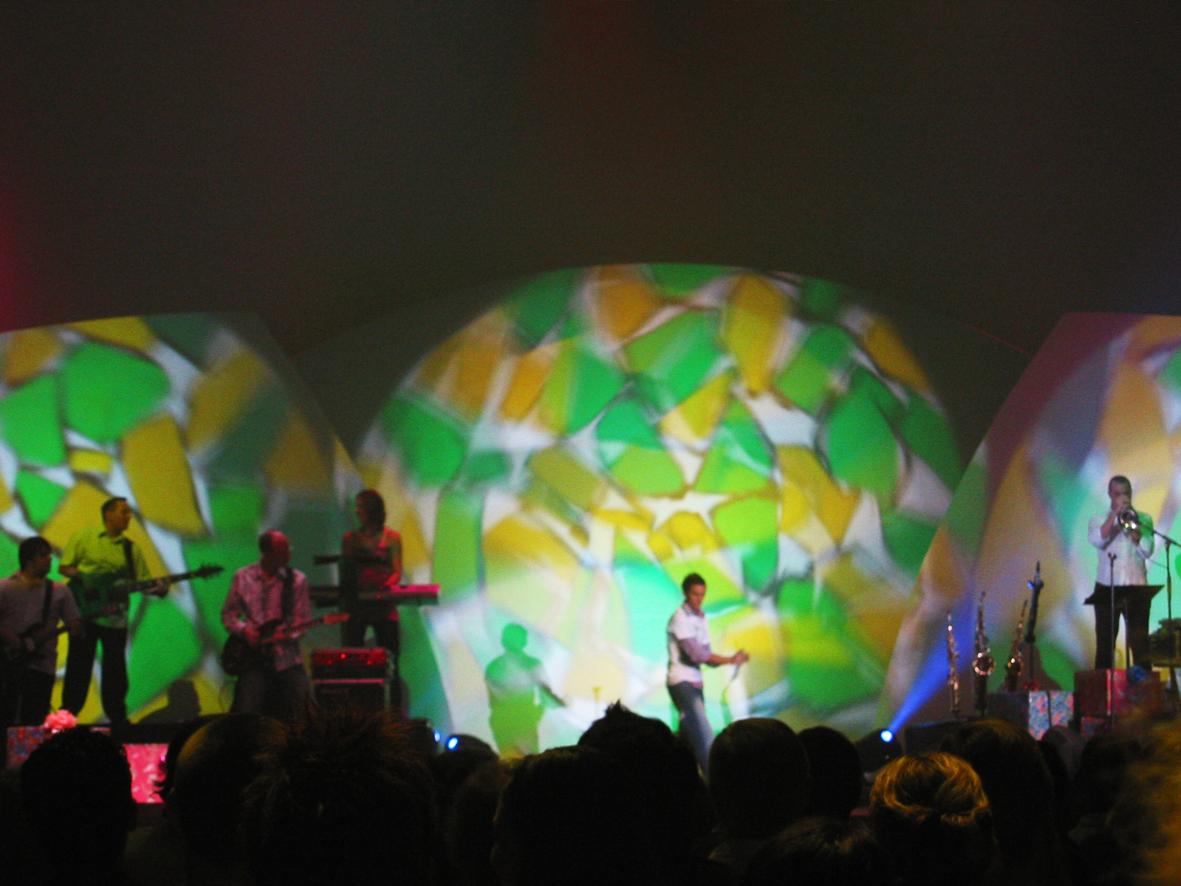 Green and Yellow Kaleidoscope Gobos at Christmas Concert