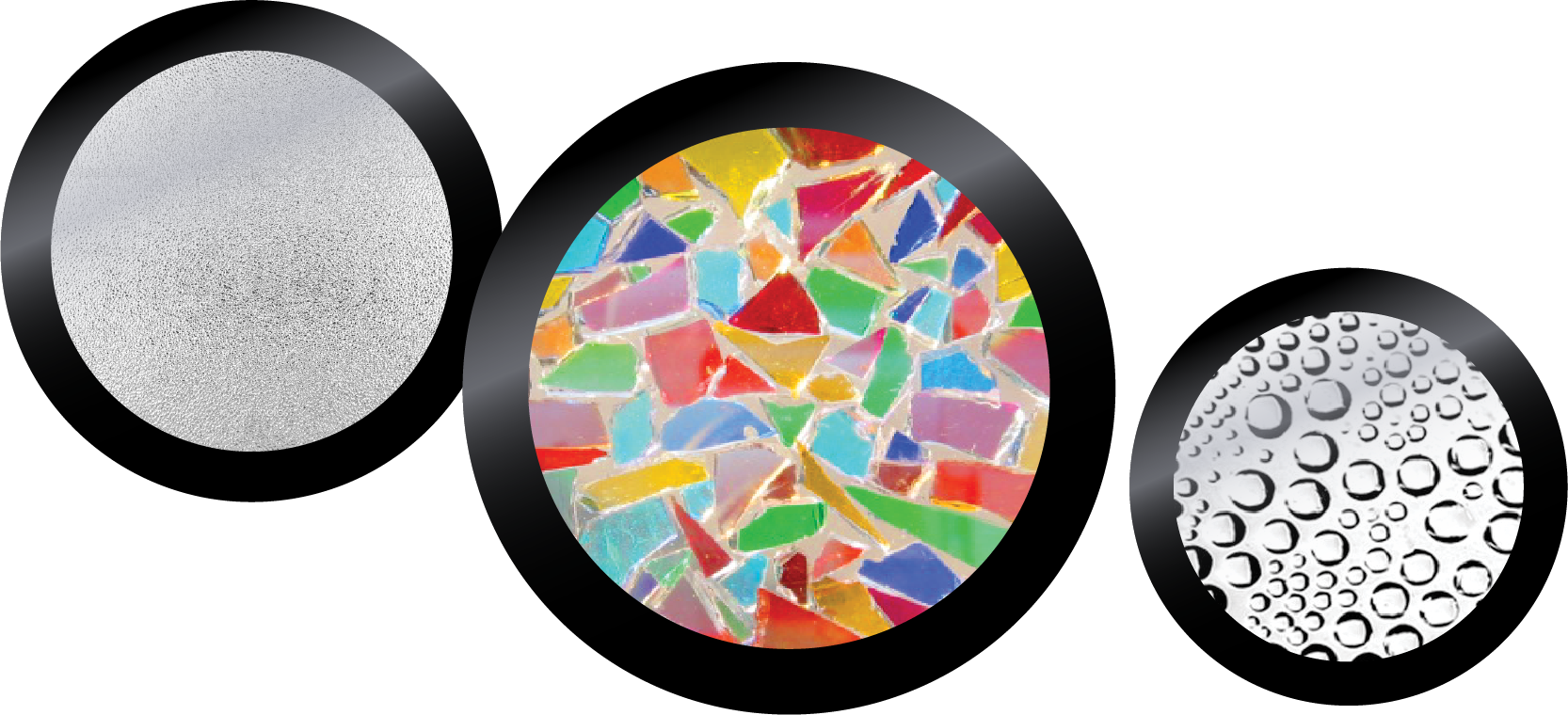 Frosted glass, kaleidoscope and effect glass gobos
