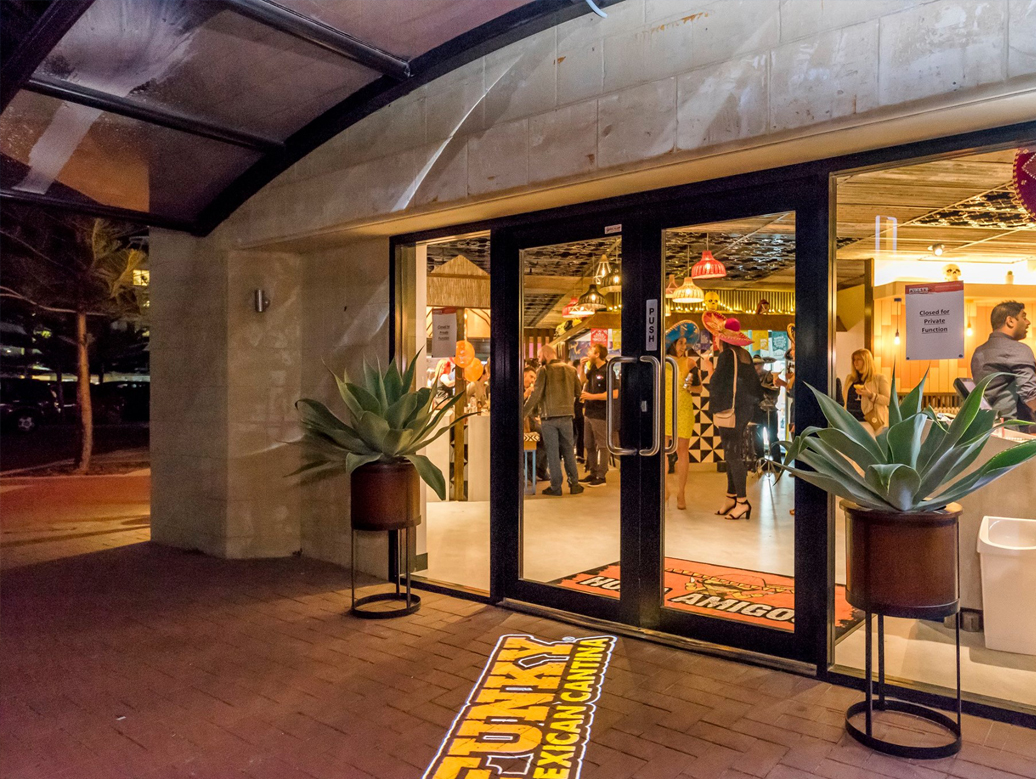 full colour projection onto restaurant footpath