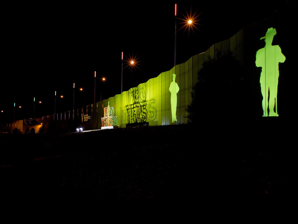ANZAC soldiers projected onto Tullamarine highway