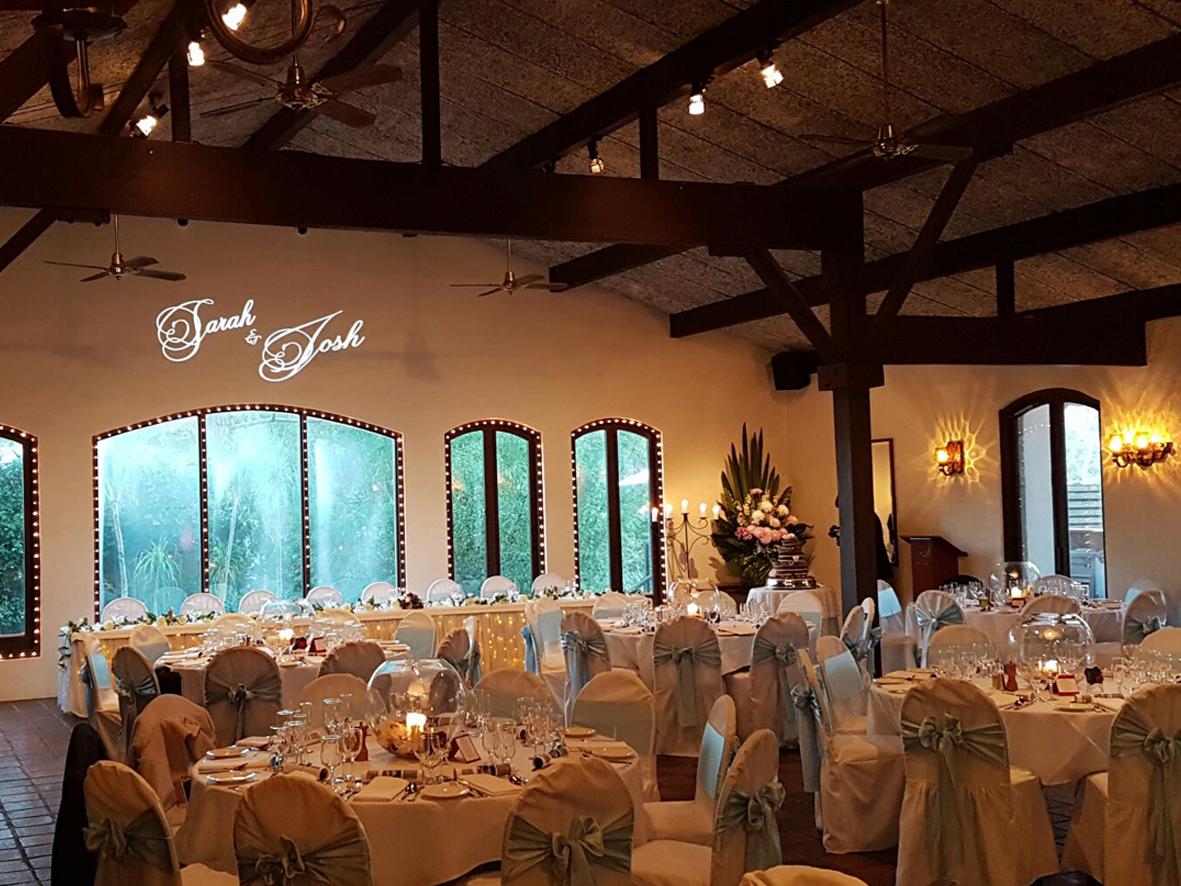 Sarah and Josh wedding gobo projection onto reception hall wall