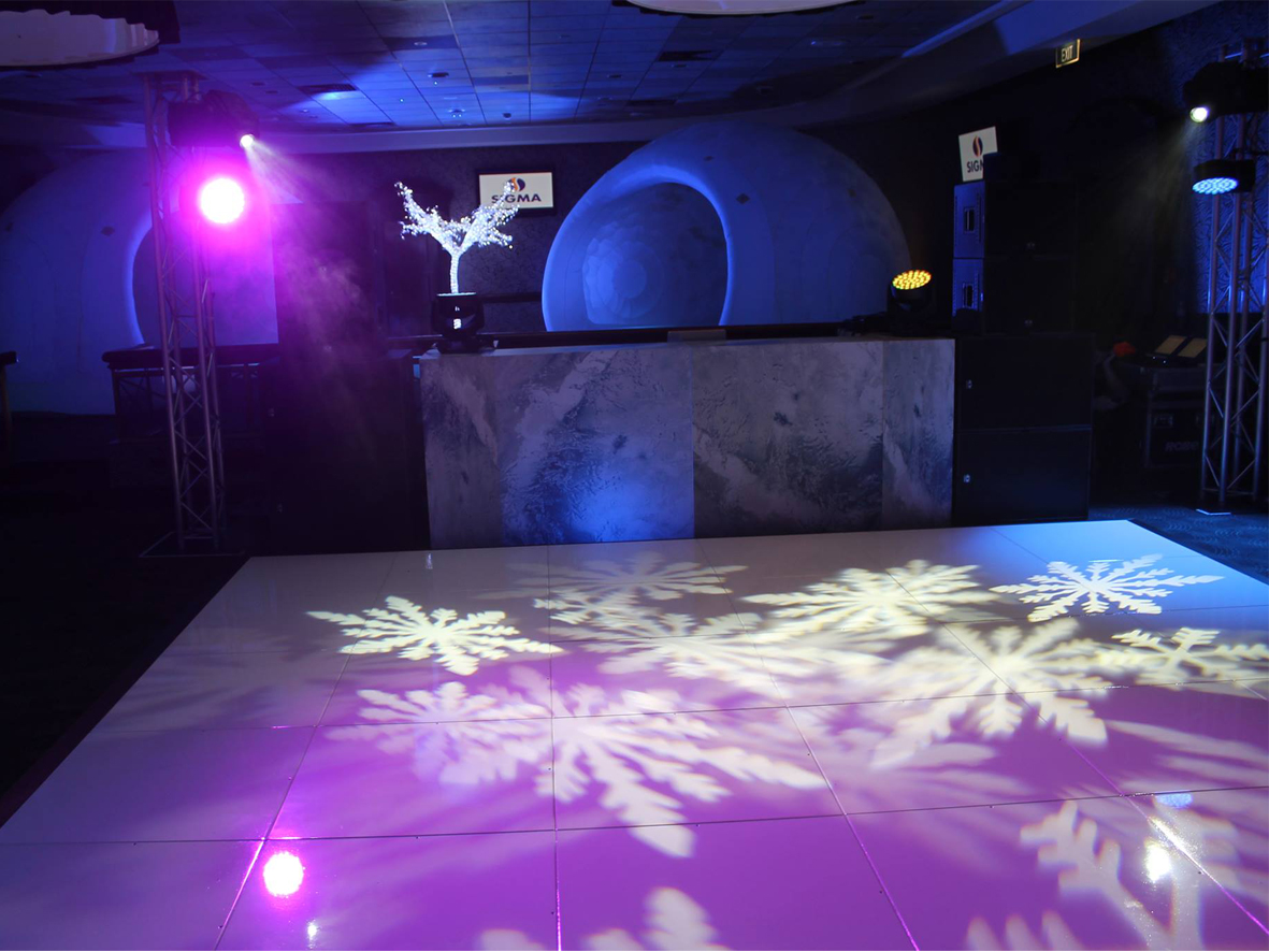 Snowflake Breakup projected onto dancefloor